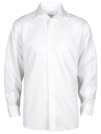 Calvin Klein CK029-026 Mens Premium Clean Dobby Shirt, White – Small