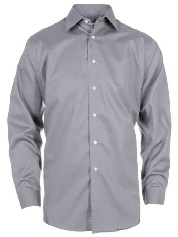 Calvin Klein CK029-858 Mens Premium Clean Dobby Shirt, Ice Grey – Small