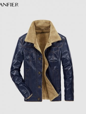 CARANFEIR PU Leather Jacket Autumn Winter Men