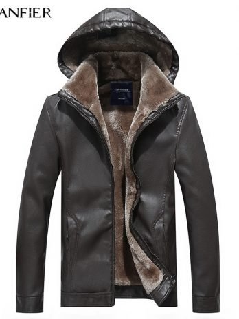CARANFIER Mens Leather Jackets Winter Warm Coats