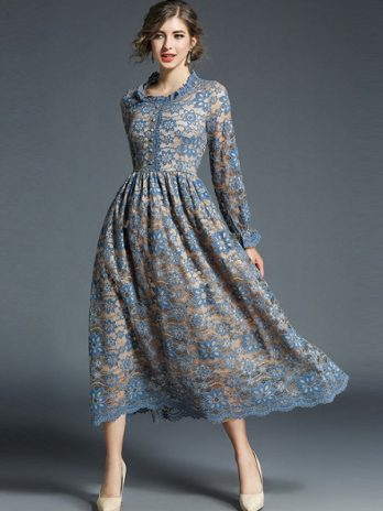 Autumn Winter Lace Dress Work Casual Slim Fashion Sexy Hollow Out Flowers Lace Dress