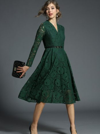 Ladies V-neck Green Lace Dress Vetement Female Spring Evening Party Women Dress