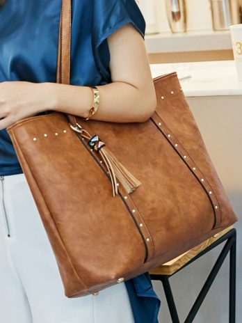 Rivet PU Leather Women Handbag