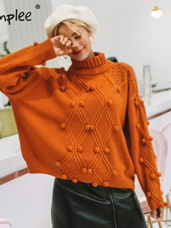 Simple Turtleneck sweater women pullover Hollow out knitted sweaters – Autumn winter fashion long sleeve casual jumpers