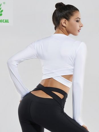 Vansydical Yoga Shirts Long Sleeve Women's Sexy Exposed Fitness Running Sport T-Shirts female Gym Crop Tops Clothing for women