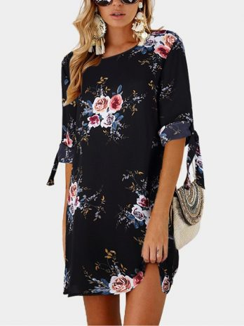 Dress Women Summer Women Floral Print Beach Chiffon Casual Loose Mini Party Boho Style SunVestidos Plus Size Party Dresses