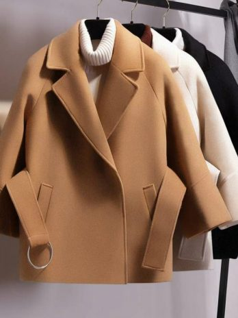 Women's Short Woolen Coat Belt Jacket