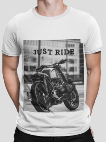 Motorcycle Just Ride Heavy Cotton T-Shirt