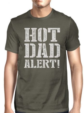 Hot Dad Alert Men's Dark Gray Round Neck T Shirt