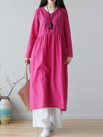 Women Solid Color V-neck Linen Cotton Dress